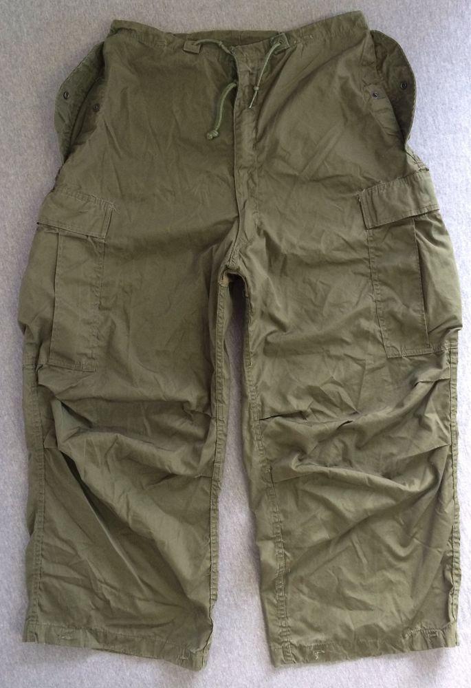 Vintage 50 s USA Military Pants Arctic Shell Cargo 1952 Button Liner Korea 8e653b62485