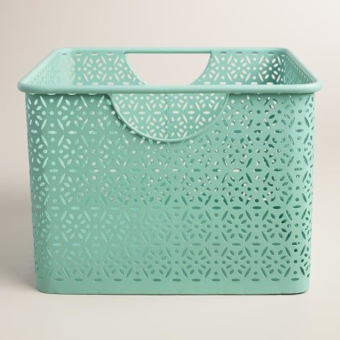Medium Aqua Blue Metal Mia Storage Bin | World Market