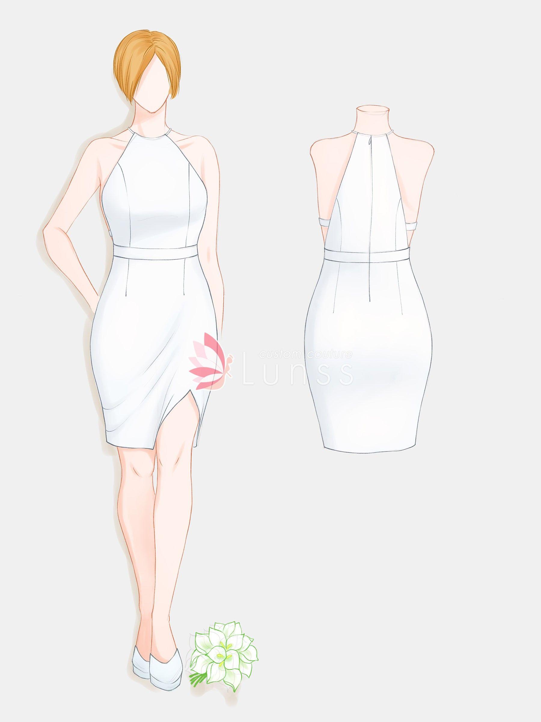Short Dress Drawing : short, dress, drawing, Halter, Sleeveless, Short, Dress, Sketch, Sketches,, Fashion, Drawing, Dresses,, Sketches, Dresses