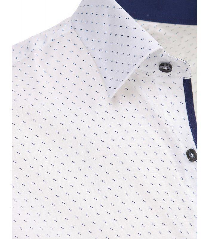 bb4ab9512de6 Biela pánska kockovaná košeľa s dlhými rukávmi