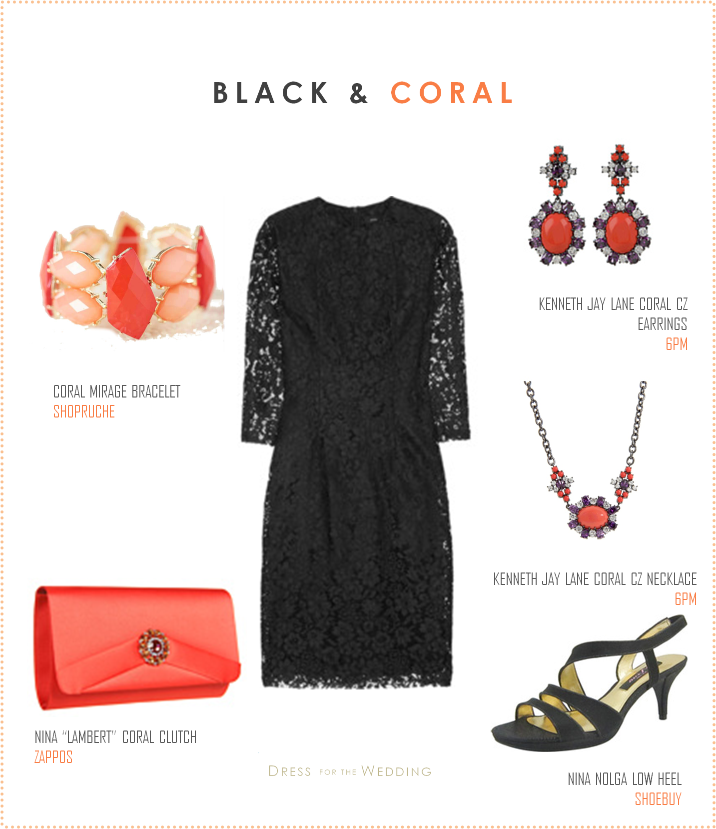 Accessories for a black lace dress