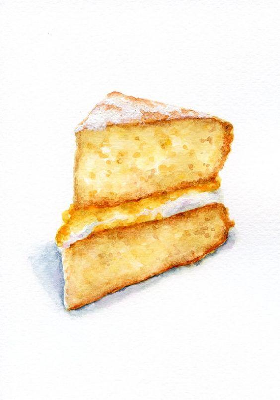 Lemon Curd Cake Food Food Illustrations Watercolor Food