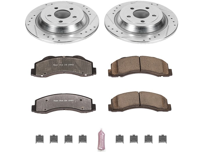 For 2015-2017 Ford F-150 Front Rear Black Slotted Brake Rotors+Ceramic Pads