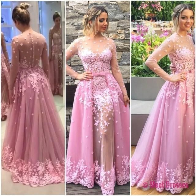 Prom Dresses,Pink Evening Gowns,Lace Formal Dresses,Backless Prom ...