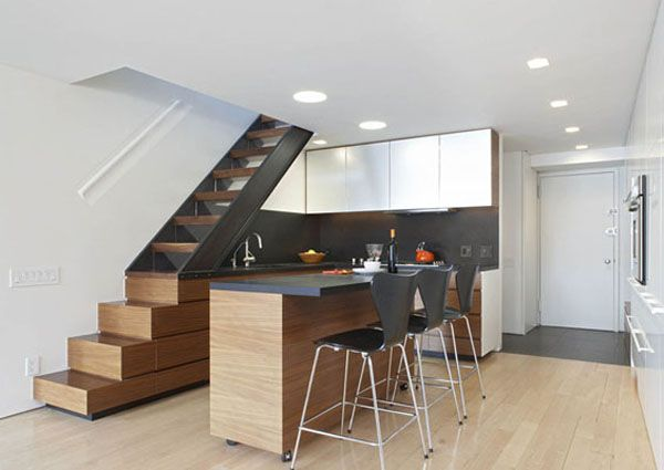 Beautifully Renovated Duplex In New York City Modern Apartment Decor Apartment Interior Stairs In Kitchen