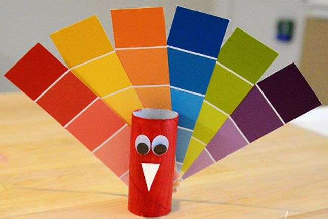 Paint Chip Peacock--Brighten up your child's day with this colorful craft.