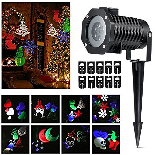 Podofo Christmas LED Projector Lights 10 Patterns Lens Moving