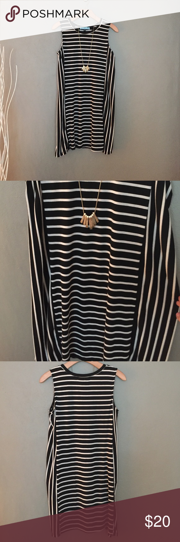Francesca's shift dress Black and White Striped shift dress. Both vertical and horizontal strips on the dress, feels like a soft cotton. Francesca's Collections Dresses Mini