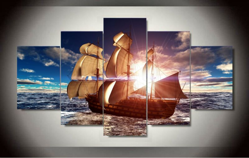 5 panels ship ocean canvas wall artwork set free ems shipping best prices for