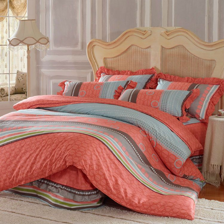 idyllic natural style korean bed cover 4pcs bedding sheet with bed sheet skirtduvet cover