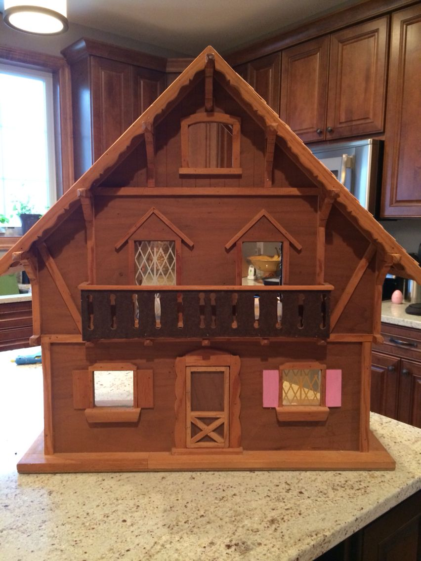 Vintage swiss chalet dollhouse I am restoring for my daughter