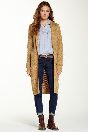 Hooded Two-Pocket Long Cardigan by Double Zero on @HauteLook