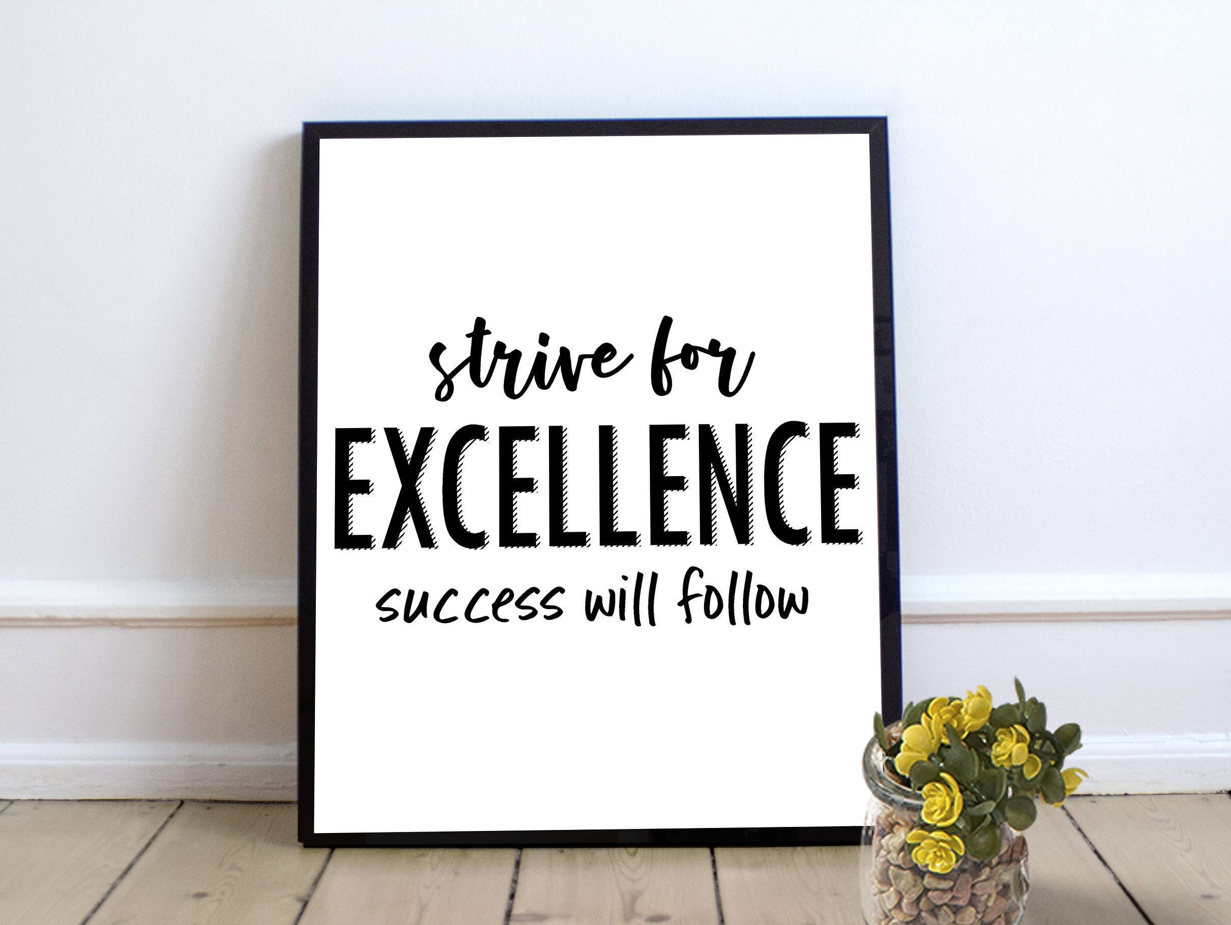 Success Is Your Only Option Quote Print Black /& Gold Wall Art Picture