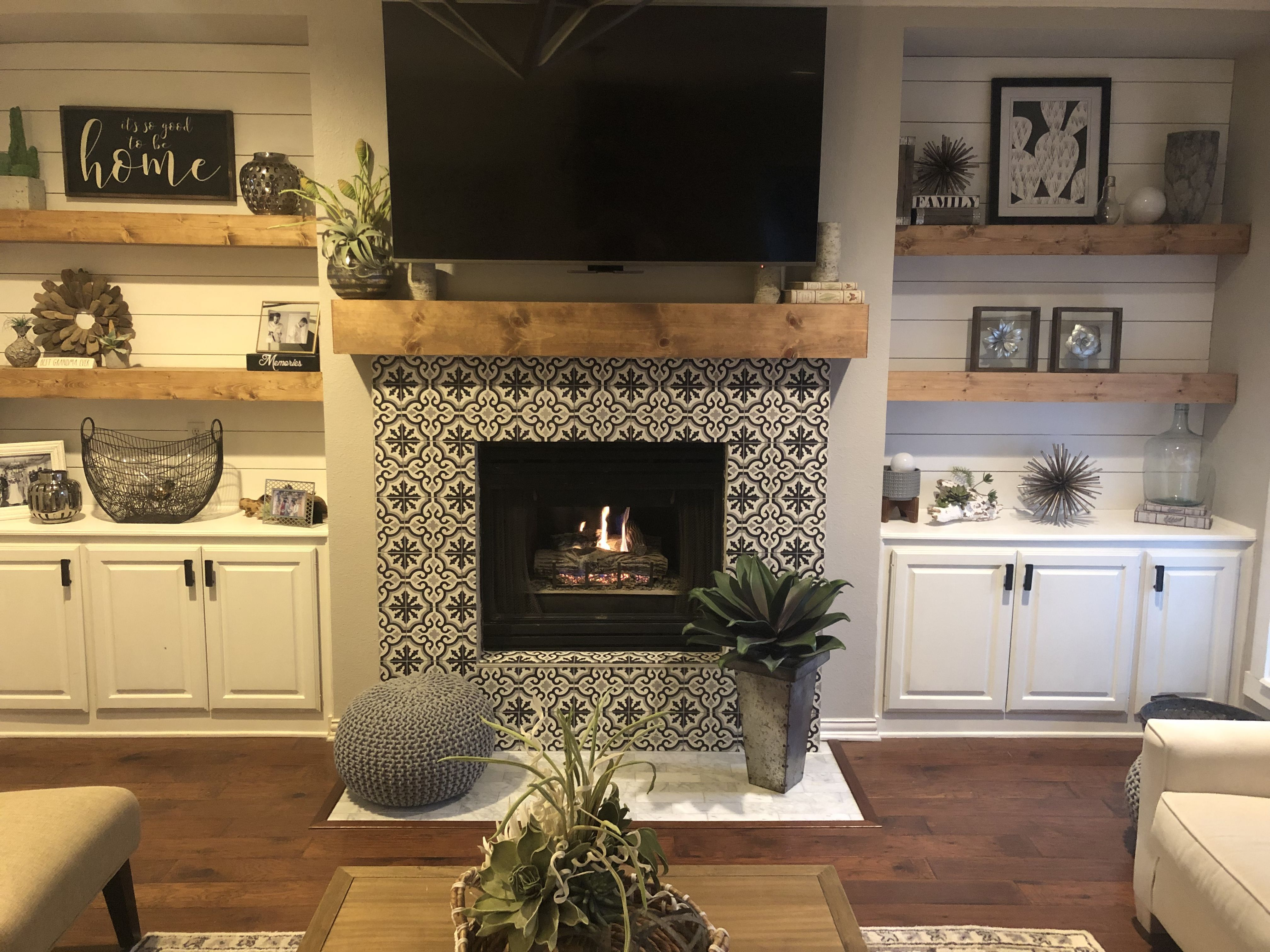 Fantastic Photos Fireplace Hearth Removal Style Updated Fireplace With Cement Tile Over Original Brick Remo In 2020 With Images Fireplace Makeover Build A Fireplace Brick Hearth