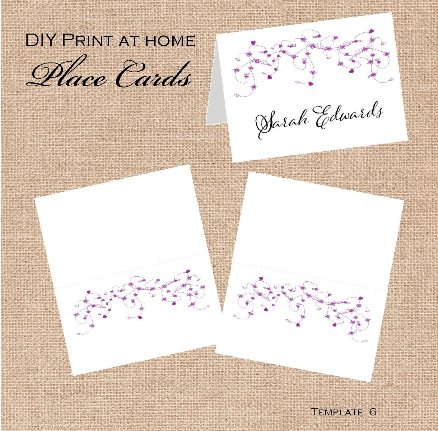 Printable Wedding Place Card Templates - DIY Print at home products ...