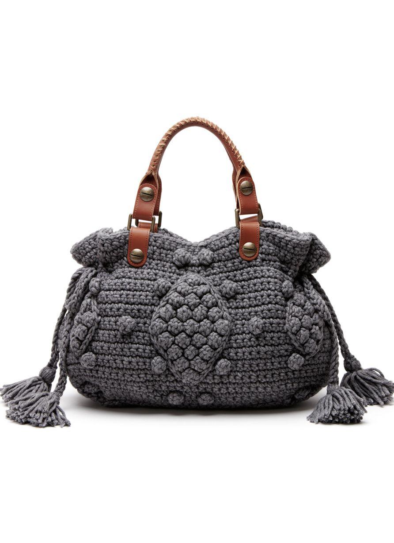 sac crochet laine et cuir boules   bolsas de crochê passo a passo ...