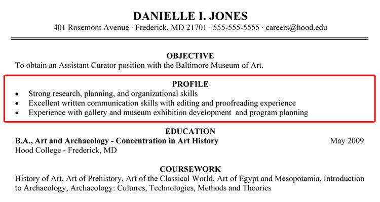 Writing Your Resume Hood College Profile Summary Example  Home