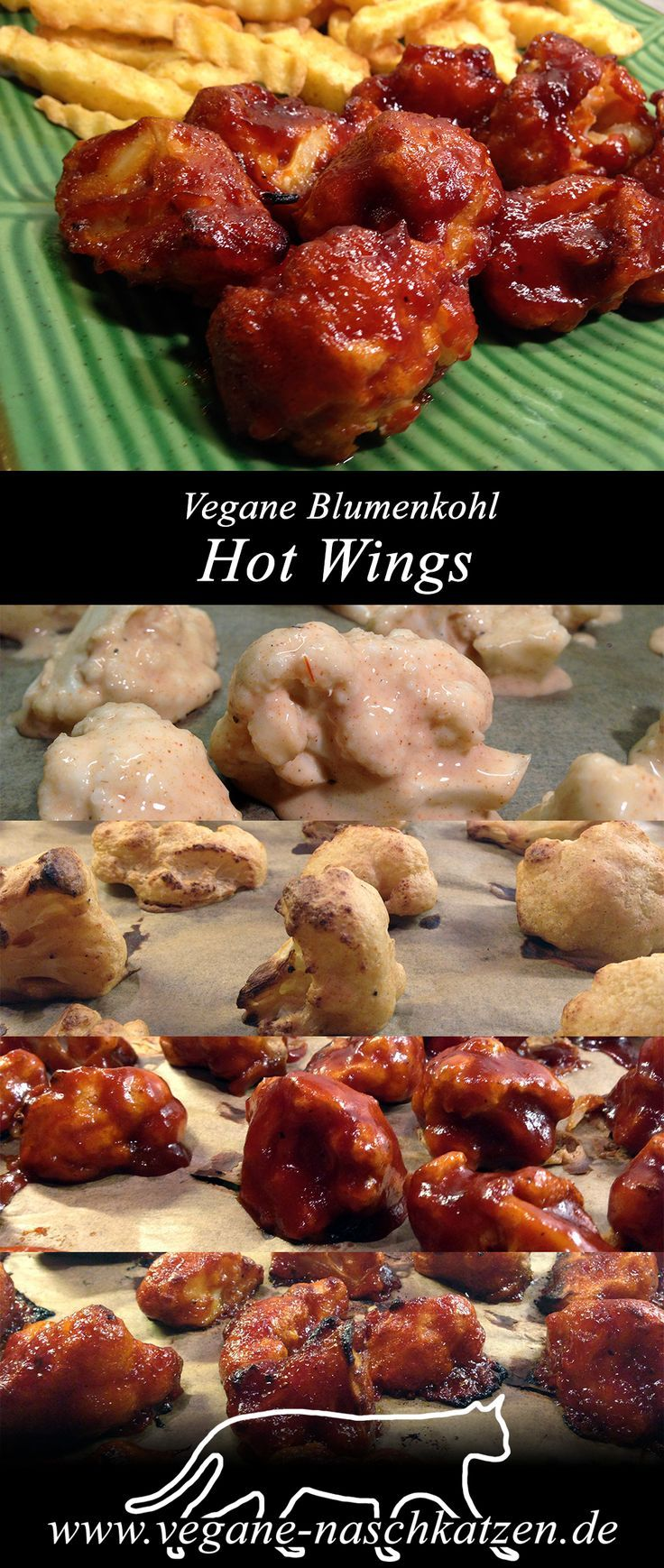 Vegane Hot Wings aus Blumenkohl mit selbstgemachter Hot Barbecue Sauce -