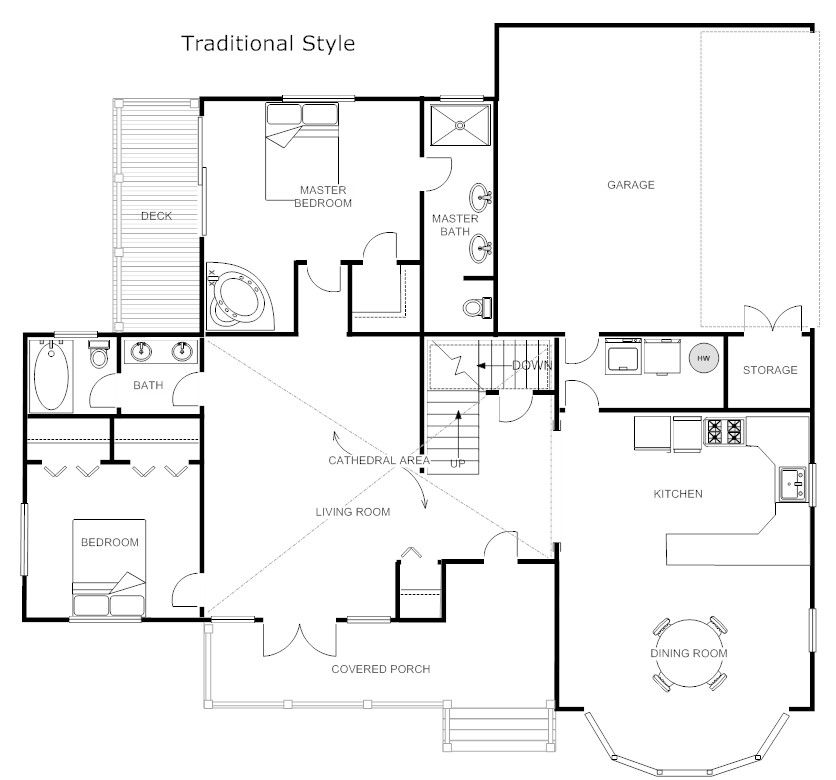 Traditional Floor Plan Example - SmartDraw
