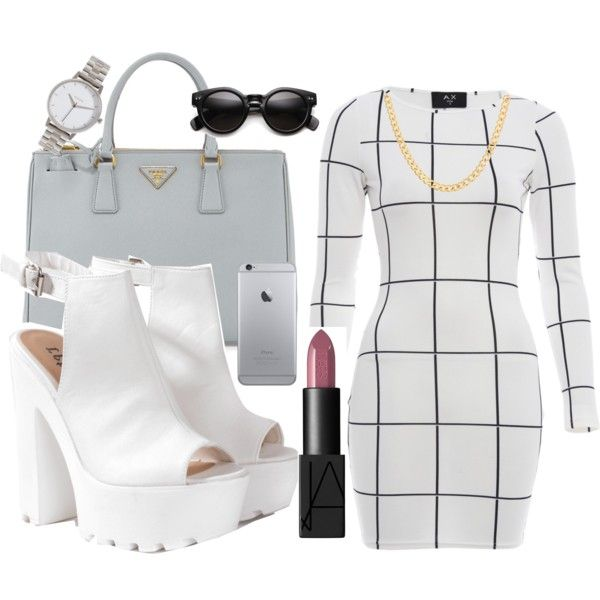 Untitled #165 by dianablvck on Polyvore featuring moda, AX Paris, Glamorous, Prada, Nixon, Sterling Essentials and NARS Cosmetics