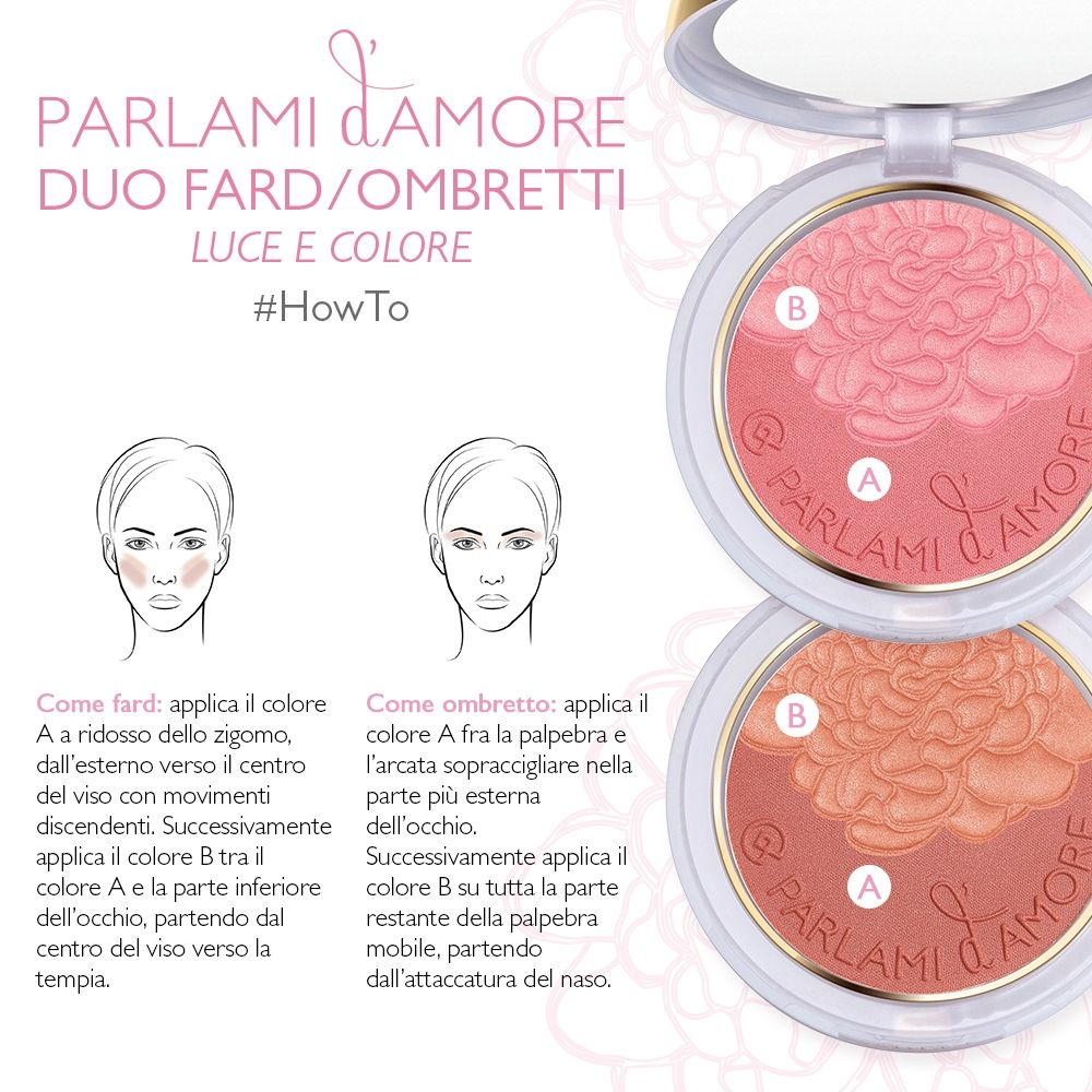 Il prodotto star della Collezione #ParlamidAmore, Duo Fard/Ombretti Luce e Colore ha già conquistato i cuori di molte di voi... ma il dubbio resta: come si utilizza correttamente? Eccolo spiegato! Seguite le istruzioni, applicatelo come fard e come ombretto ed otterrete un #makeup ultra-romantico!