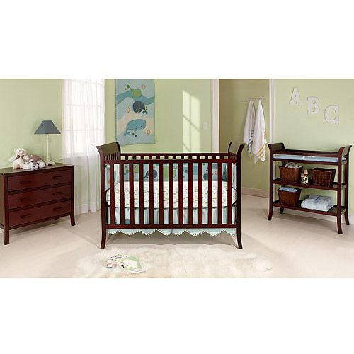Walmart Bsf Baby Sleigh 4 In 1 Crib Changing Table And Clothing Organizer 3 Piece Set Cherry 4 In 1 Crib Clothes Organization Cribs