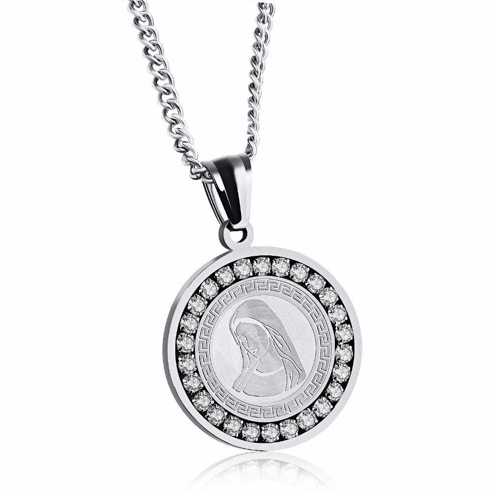 fashion brand goldcolor crystal love goddess round pendant