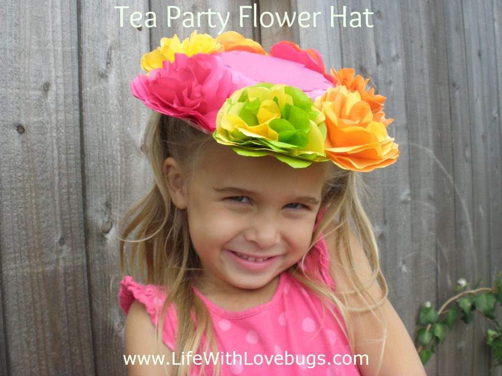 Tea Party Flower Hats Made From Tissue Paper Flowers A Paper