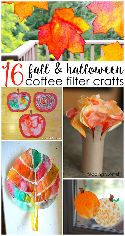 Fall halloween coffee filter crafts for kids coffee for Coffee crafts