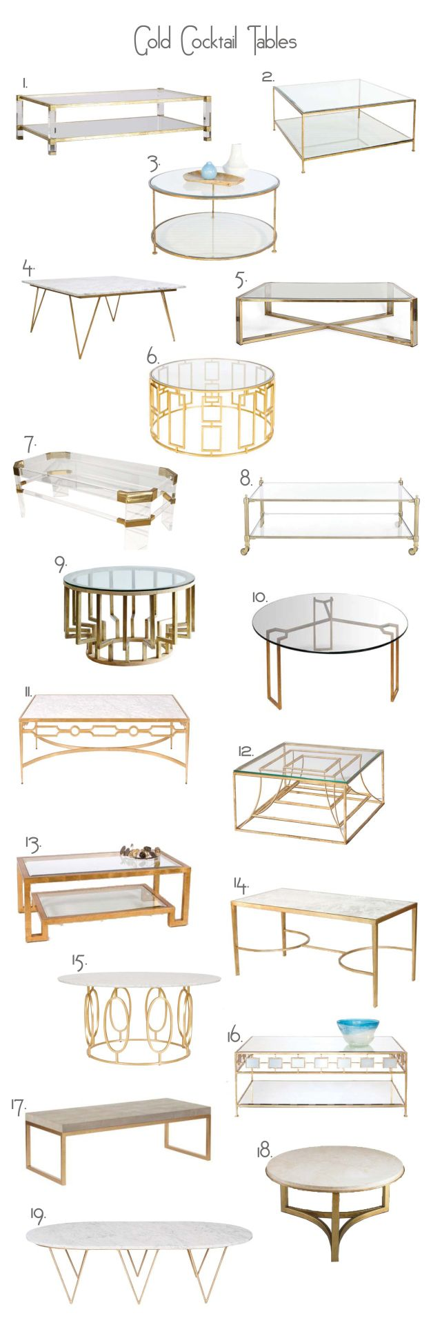 gold cocktail tables seventy five arlington coffee tables