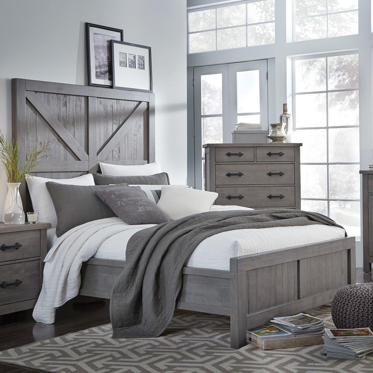 Urban Home Austin King Panel Bed in Rustic Grey | Nebraska ...