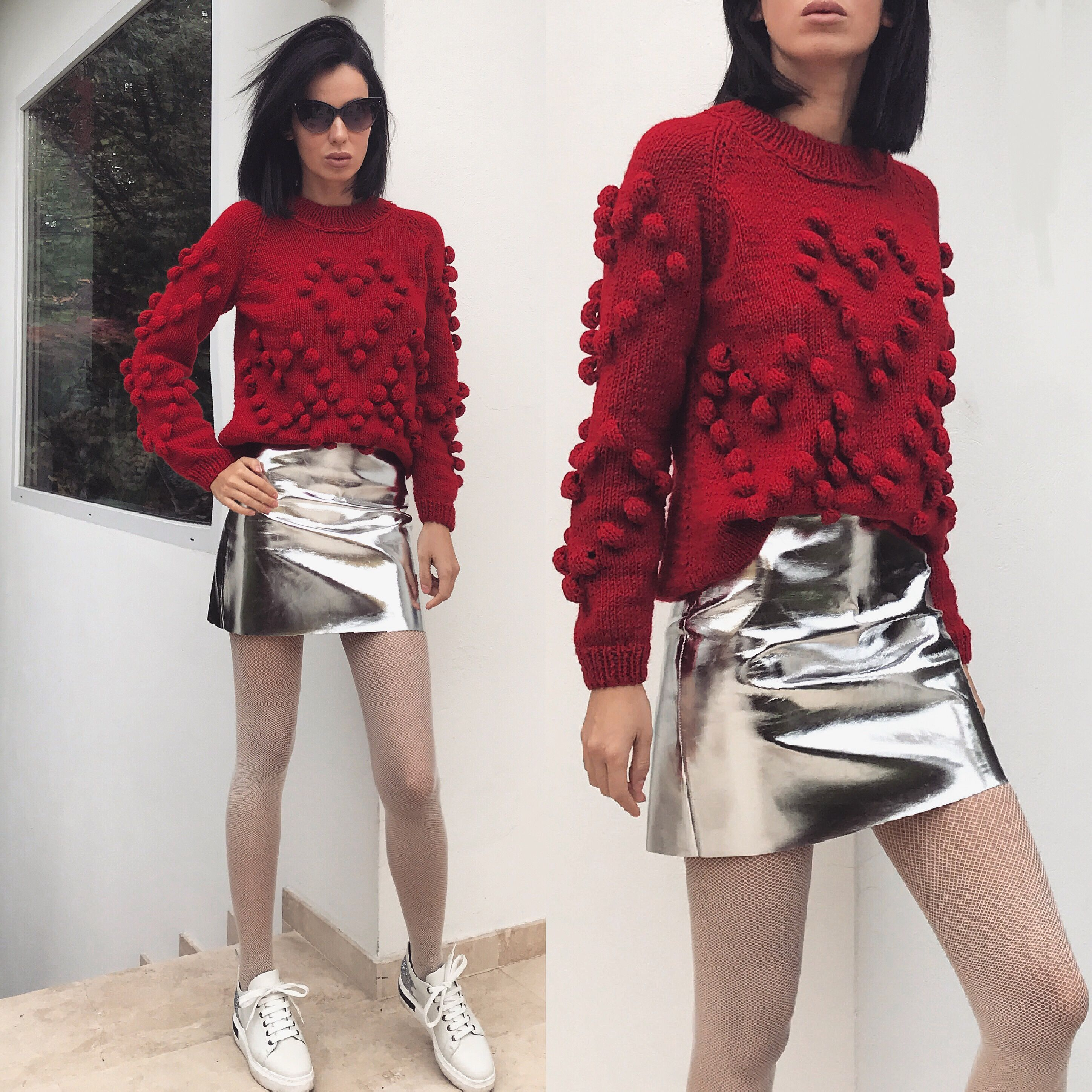 Cherry red sweater by Laura Ion / handmade knit | By Laura Ion ...
