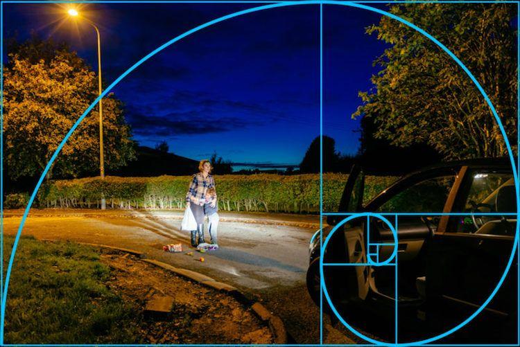 если вашем спираль фибоначчи и золотое сечение в фотографии ночи