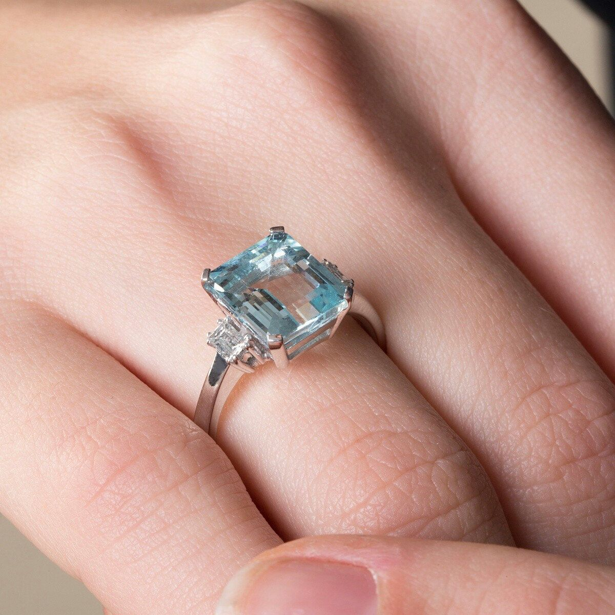 Aquamarine Engagement Ring, 18K Diamond Ring, Blue Topaz Ring ...