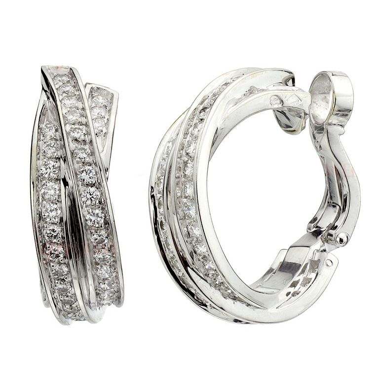 CARTIER Trinity Collection Diamond White Gold Hoop Earrings