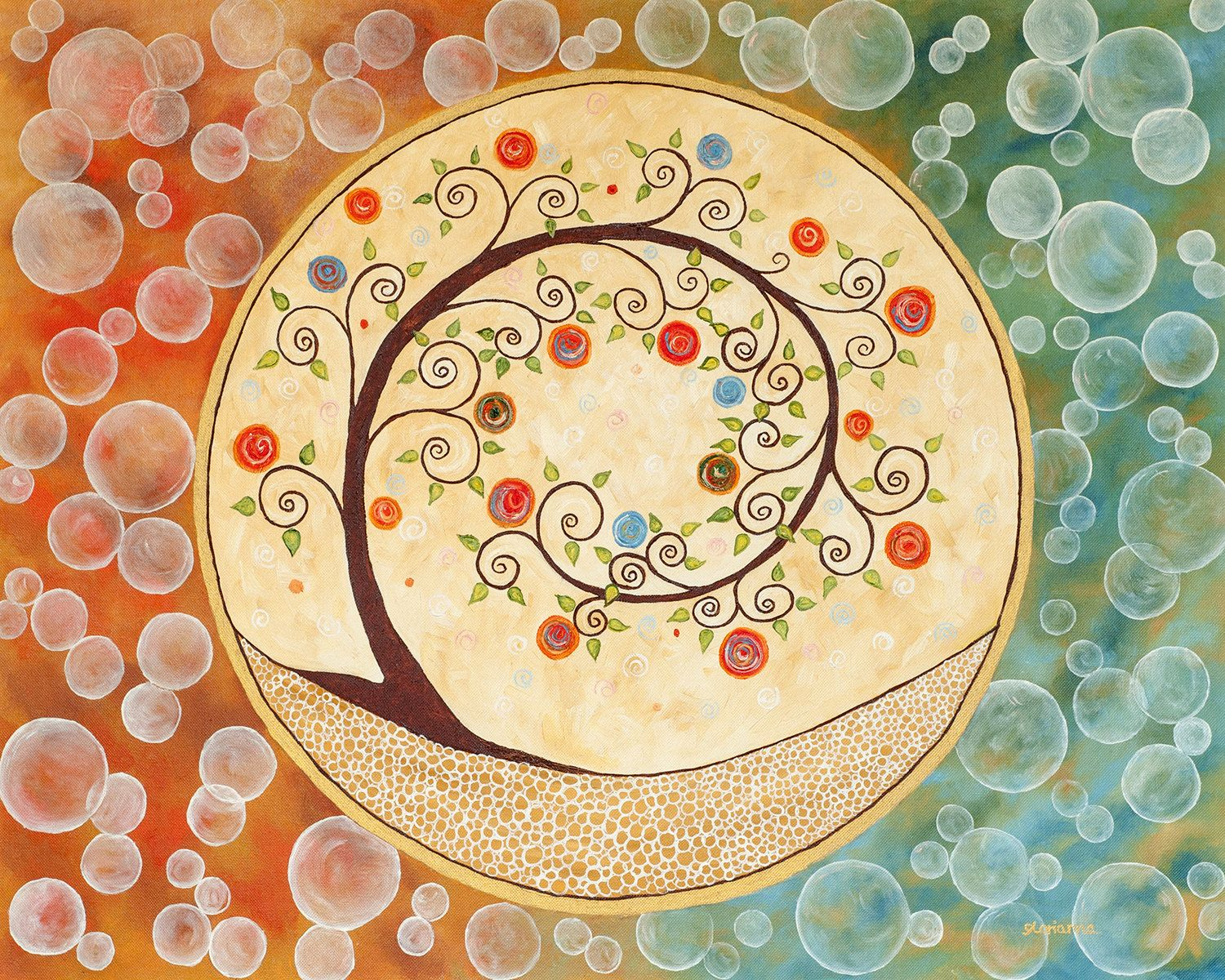 Tree of Life Art by Glorianna Circle of Life Cameo Abstract Painting ...