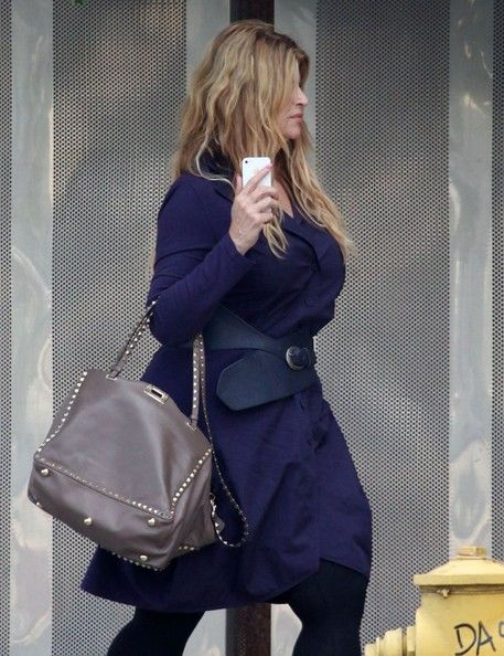 Kirstie Alley Studded Tote - Kirstie Alley was out and about in Studio City carrying a chic studded gray tote.