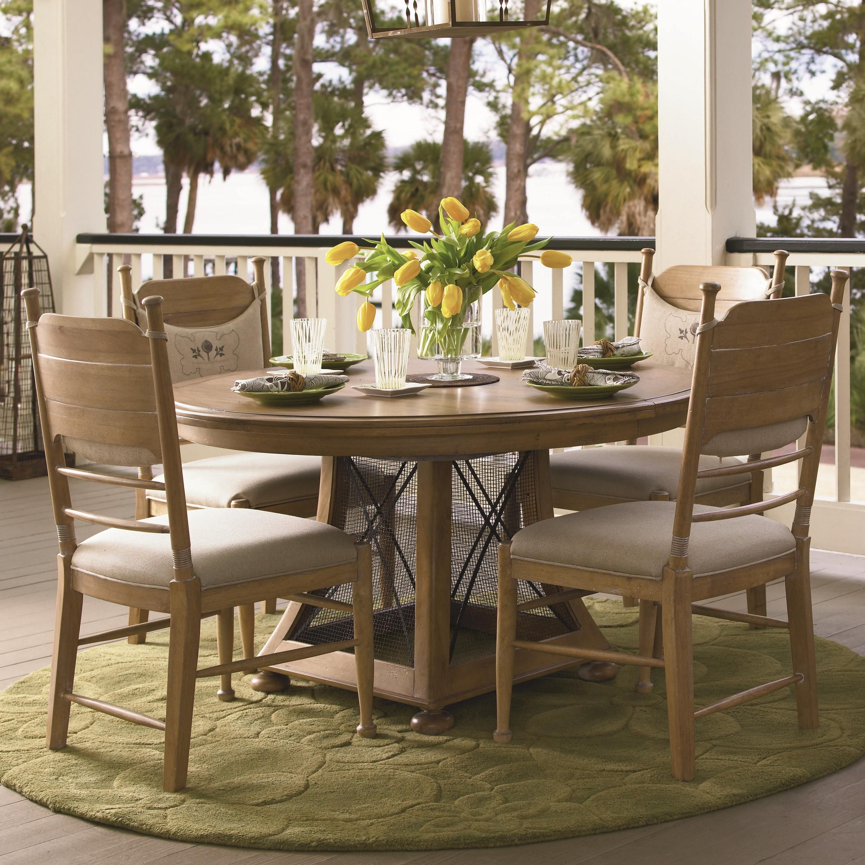 Paula Deen Down Home Round/Oval Pedestal Breakfast Dining Table   Oatmeal  Finish