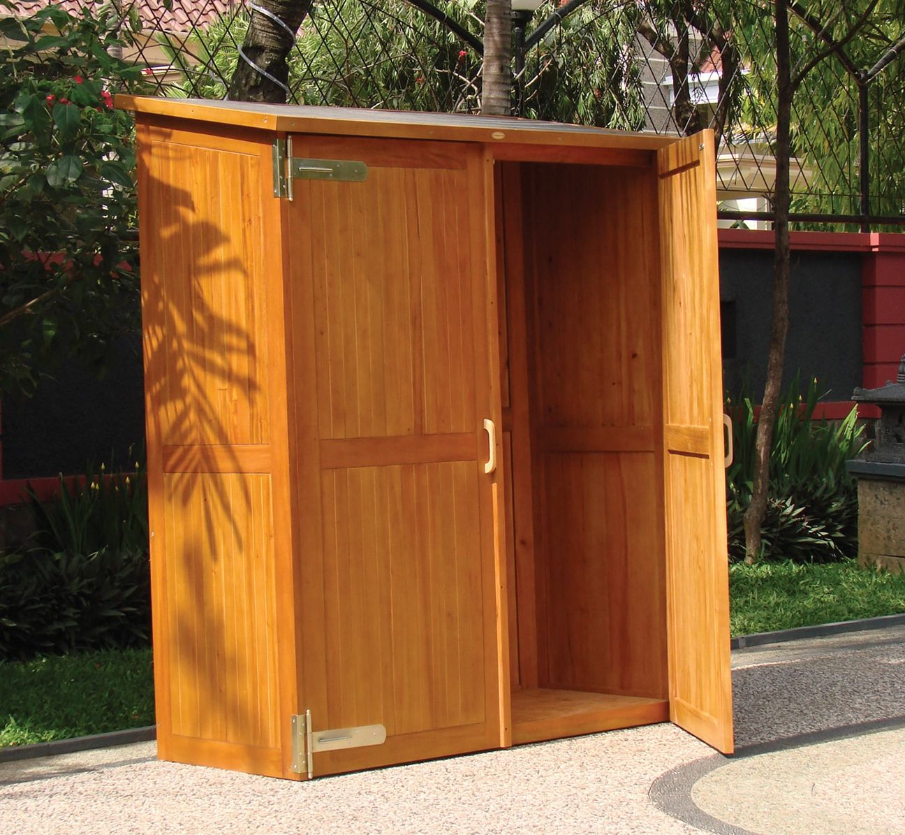 Wooden Outdoor Storage Cabinets with Doors  Outside