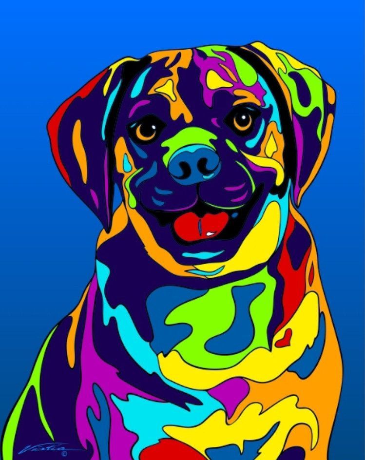 Multi-Color Puggle Dog Breed Matted Prints & Canvas Giclées