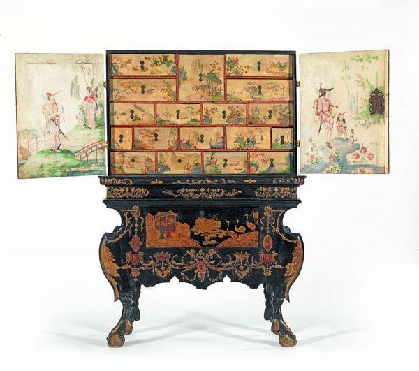 Cabinet A Decor De Vernis Facon De La Chine Par Gerhard Dagly Spa Belgique 1657 Bensberg 1715 Act Elite Furniture Scenic Wallpaper Painted Furniture