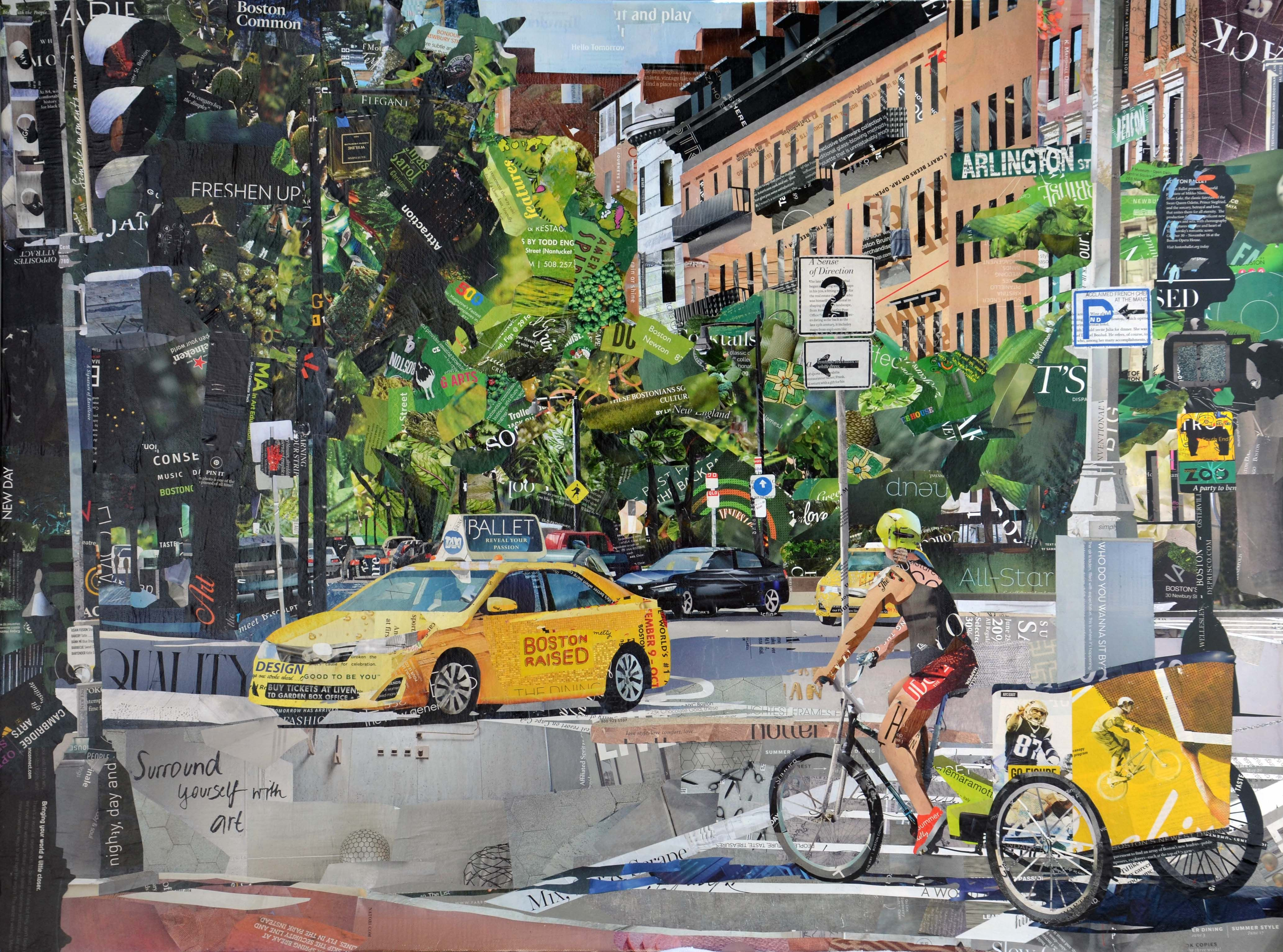 Recycled paper collage of Arlington St., Boston