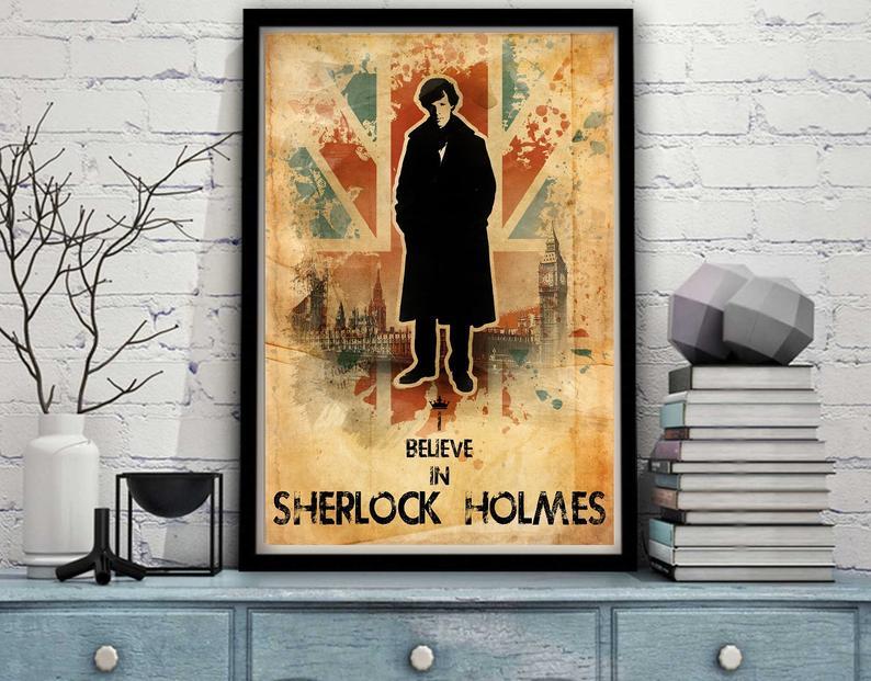 Sherlock Holmes Propaganda Lestrade Portrait Character TV Show Seres London Detective Watson Moriarty Minimal Minimalist Poster Print