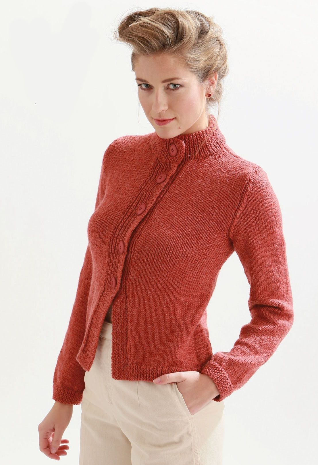40fc90d91ad617 Free Knitting Pattern for High Neck Cardigan