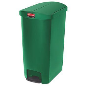 Slim Jim Resin Step-On Container, End Step Style, 18 Gal, Green