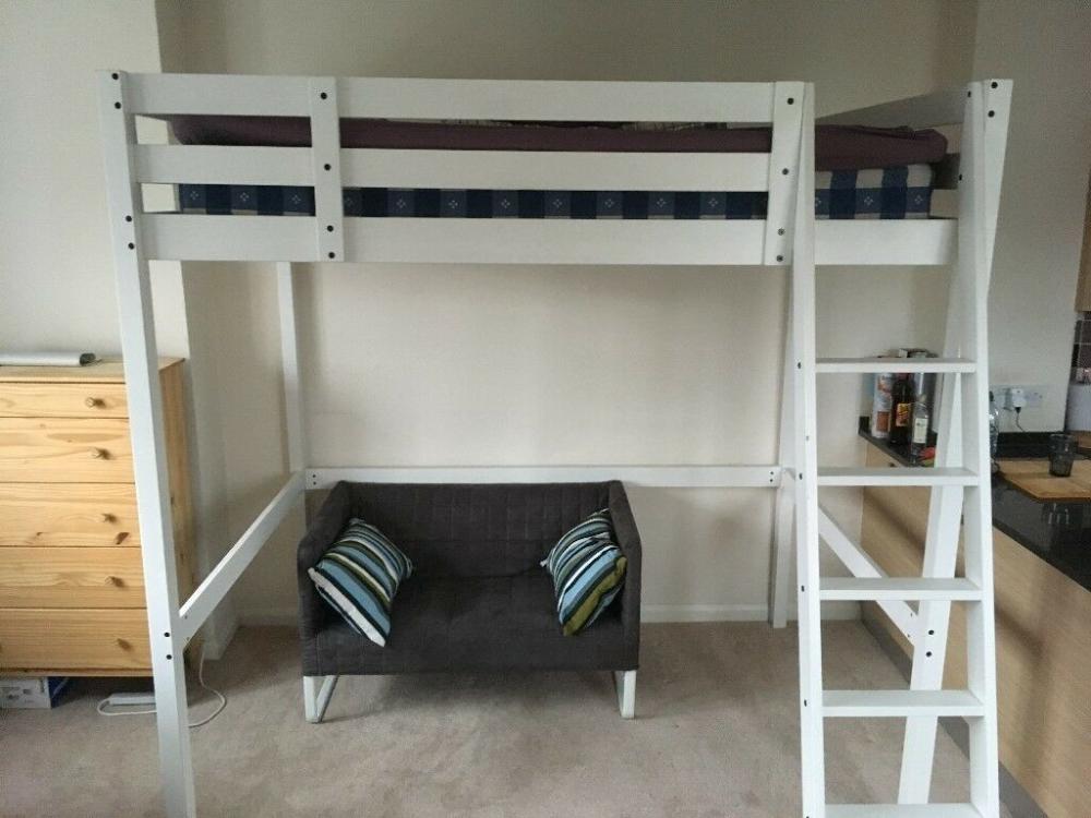 Loft double bed Ikea STORÅ / STORA white, + mattress and