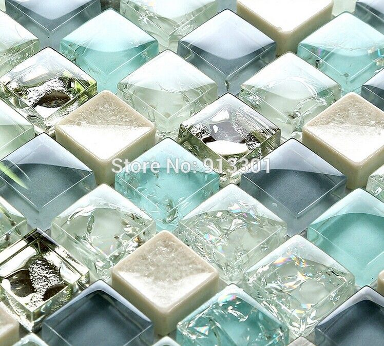crystal glass tile sheets crackle bathroom wall stickers ceramic ...
