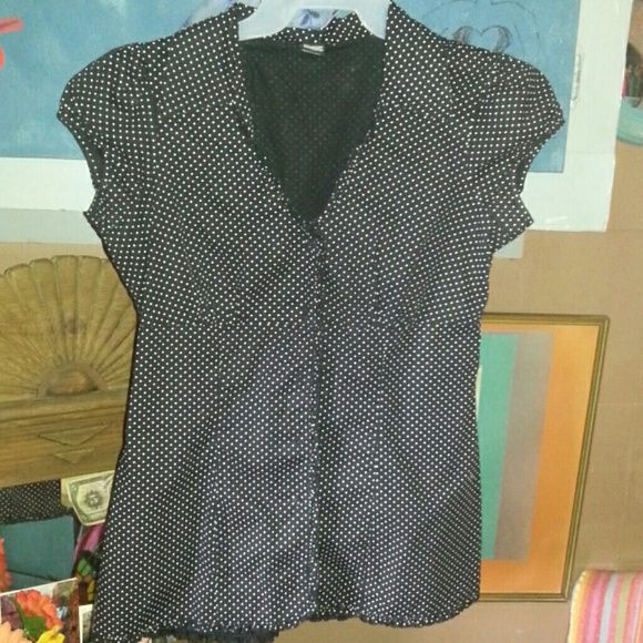 Vanity blouse Black and white polka dot, belt was not with it when I received it. No tears or stains. Vanity Tops Blouses