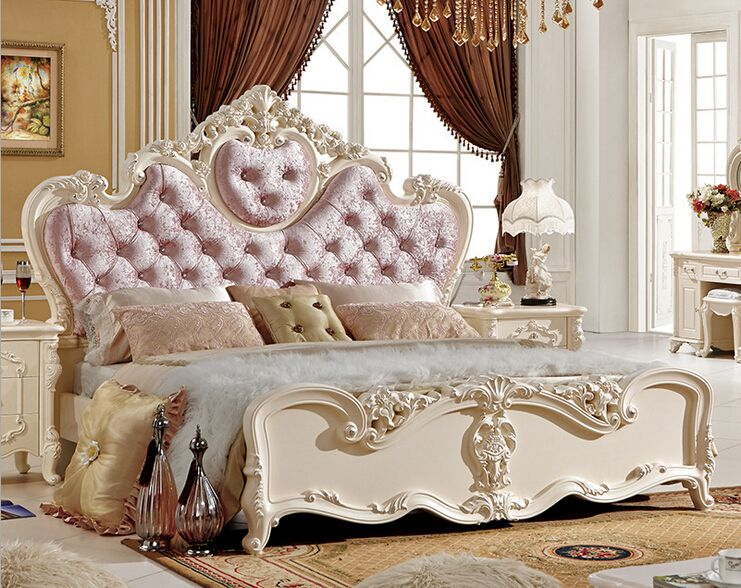 Rococo Bed Kopen : Classical pink wood double bed designs in beds from furniture on