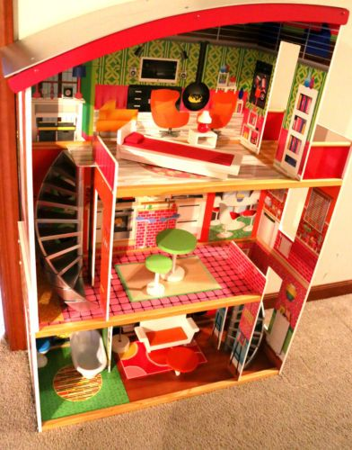 Open Bid At 79 With Pick Up In In Girls 3 Story Doll House Mansion With Furniture Fits Barbie Wood Wooden Kids Ebay Doll House Barbie Dolls